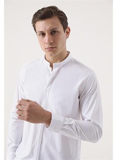 Tween Tween Slim Fit Beyaz Desenli Gömlek Beyaz